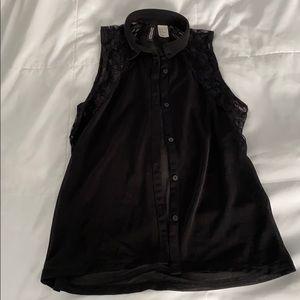 Sheer Lace black sleeveless blouse